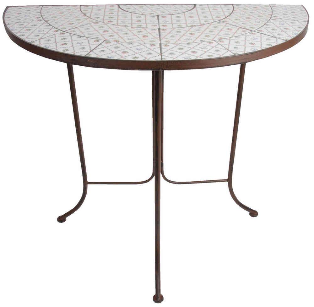 Garten Tisch Mosaik Landhaus Stil Halbrund Botanicae Petroleumofen